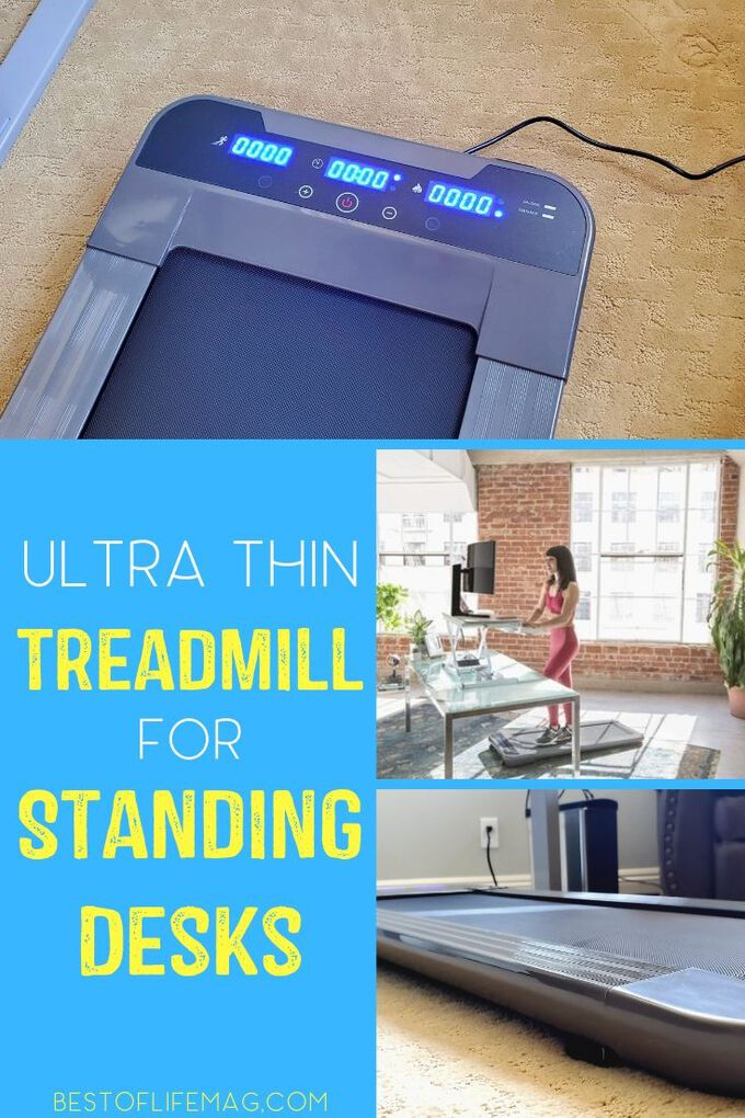 Getting in those extra steps at the office is easier than ever with the Ultra Thin Office Treadmill from Versadesk that you can use with your standing desk. Tips for Standing Desks Tips | Healthy Living Tips | Office Workouts | At Home Workouts #health #work
