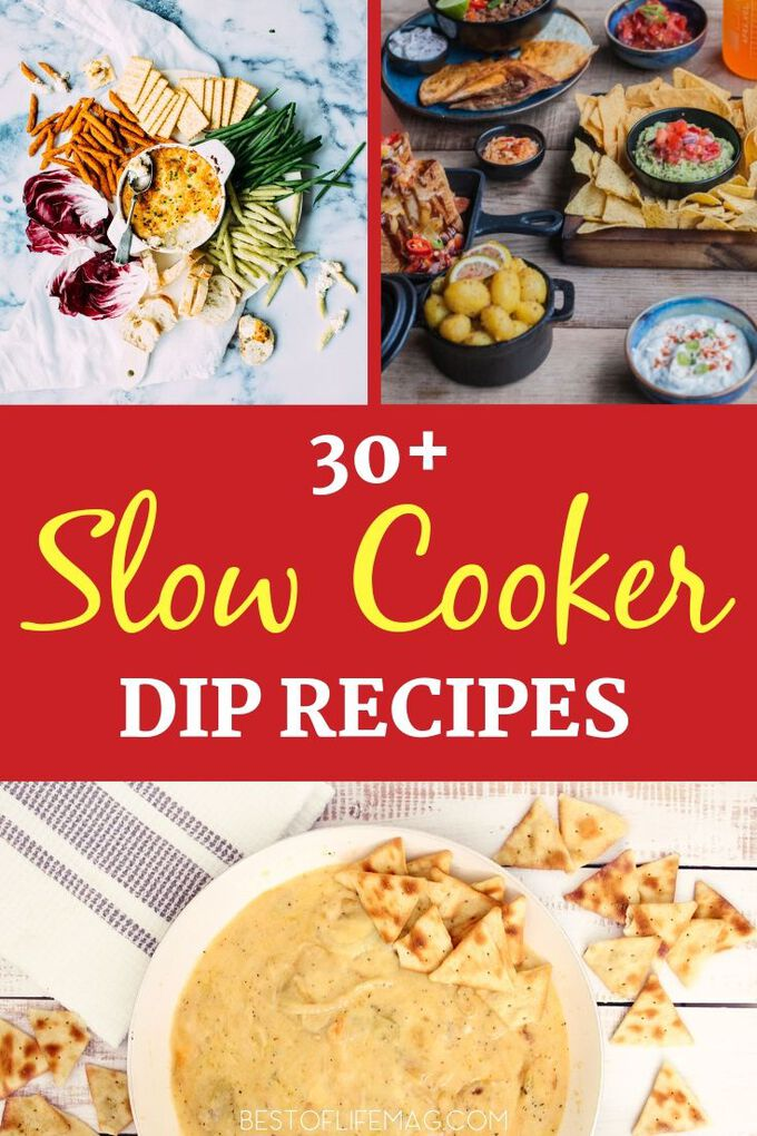 These slow cooker dips will make your life so much easier. You can whip them up ahead of time, turn them on before the party and forget all the stress! Crockpot Recipes | Crockpot Party Recipes | Slow Cooker Party Recipes | Recipes for Parties | Dip Recipes #crockpot #recipes