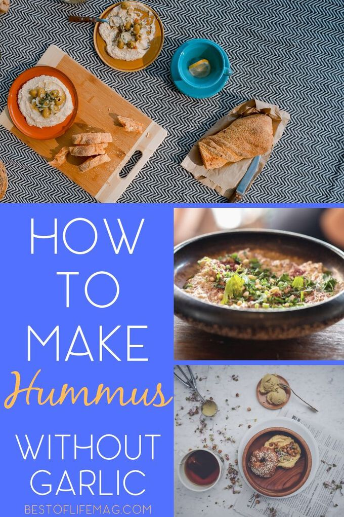 Having a garlic allergy or garlic sensitivity can be difficult because so many recipes have garlic. Enjoy these garlic free hummus recipes for a healthy snack! Hummus Ideas | Party Recipes | How to Make Hummus | Healthy Snack Recipes | Healthy Dip Recipes #hummus #healthy