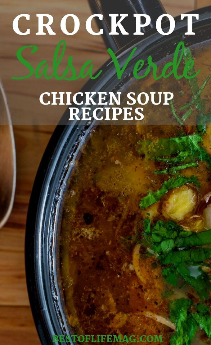 You can make crockpot salsa verde chicken soup recipes to add more flavor to traditional chicken soup recipes. These easy crockpot recipes are perfect for weeknight meal planning. Crockpot Soup Recipes | Chicken Verde Recipes | Salsa Chicken Recipes | Healthy Verde Chicken Recipes | Easy Chicken Soup Recipes | Slow Cooker Chicken Recipes #crockpot #chicken