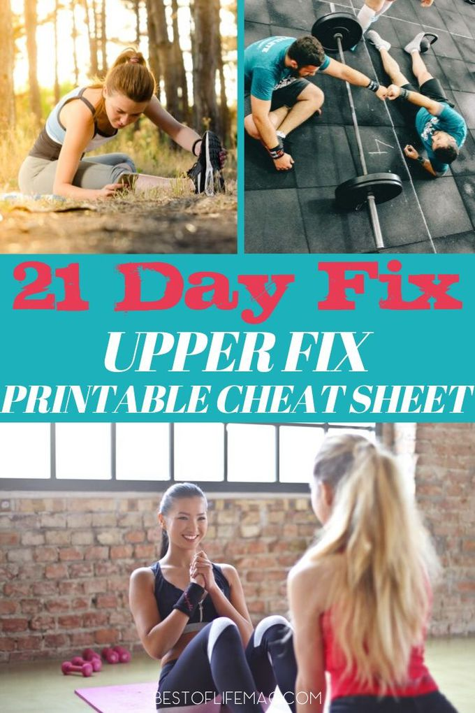 Use this 21 Day Fix Upper Fix cheat sheet for an easy-to-print list of the moves and exercises in this 21 Day Fix workout. 21 Day Fix Printables | Beachbody Workouts | Fitness Printables | Beachbody Printables | At Home Workouts #21dayfix #workout