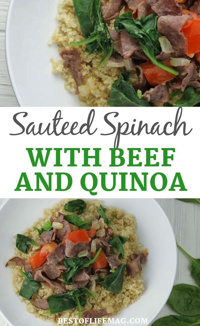 This recipe for sautéed spinach and beef can be served with quinoa or brown rice and allows you to get in a large serving of healthy spinach in the process! The best part is that everyone in the family will love this easy recipe. Beef Recipes |Spinach Recipes | Quinoa Recipes | Healthy Recipes | Dinner Recipes #healthy #recipe