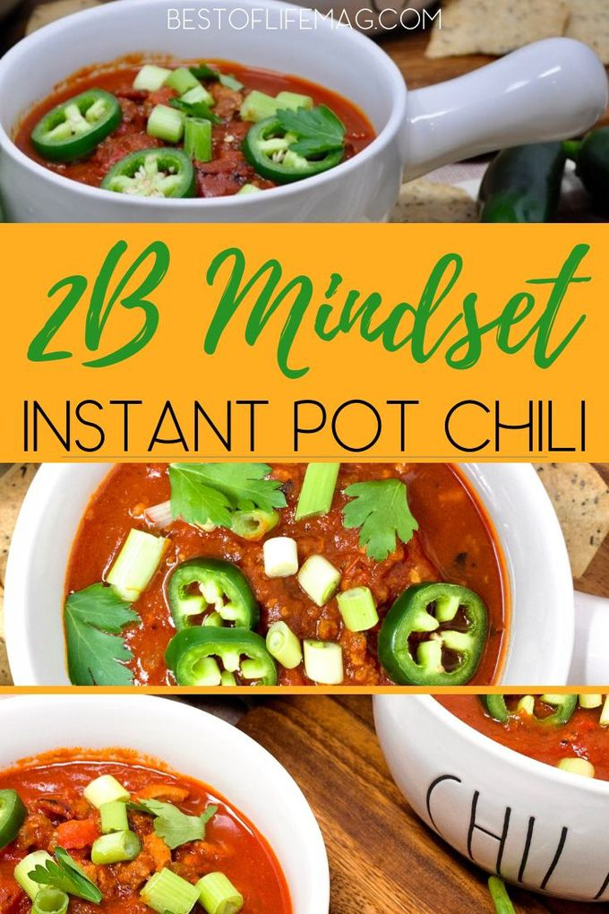 You can make an amazing 2B Mindset Instant Pot chili recipe that fits into your diet and is an easy make-ahead Instant Pot recipe. 2B Mindset Dinner Recipes | 2B Mindset Food List | 2B Mindset Tips | Weight Loss Recipes | Healthy Instant Pot Recipes | Healthy Instant Pot Chili | Chili Recipes for Weight Loss #2bmindset #instantpot via @amybarseghian