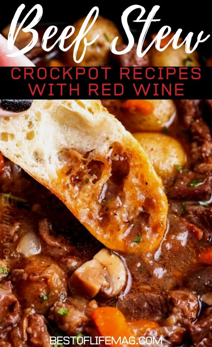 Why not combine the comfort of both beef stew crock pot with red wine? The combination seems quite perfect and the results prove it to be true. Crockpot Recipes with Red Wine | Red Wine Beef Recipes | Crockpot Beef Recipes | Crockpot Recipes with Beef | Slow Cooker Dinner Recipes for Two #crockpot #redwine