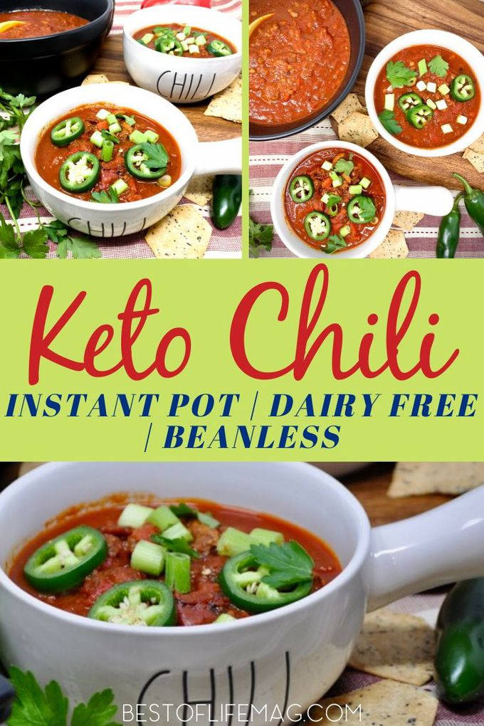 This delicious Instant Pot keto chili recipe is low carb to help you burn fat and maximize results of your ketogenic diet. Instant Pot Chili Recipe | Low Carb Chili Recipe | Keto Chili Recipe | Low Carb Beef Chili | Low Carb Pork Chili | Keto Instant Pot Recipe #keto #instantpot