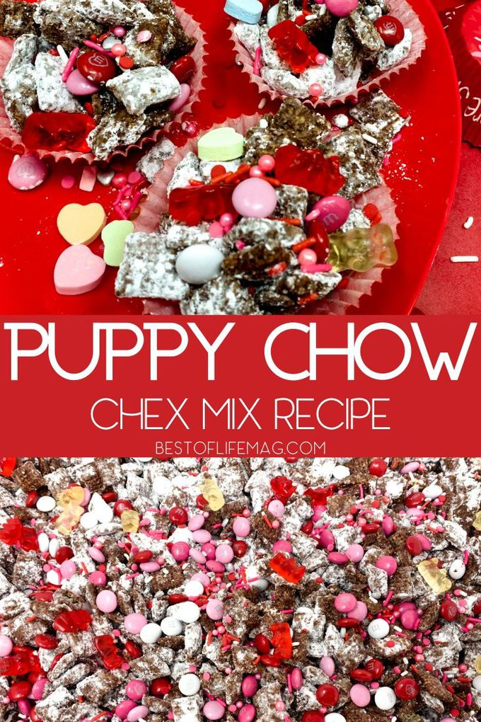 This easy puppy chow Chex Mix recipe with chocolate is one that everyone enjoys and you can easily adapt the colors for any holiday or occasion. Dessert Recipes | Snack Recipes | Chex Mix Recipes | Muddy Buddies Recipes | Snacks for Kids | Holiday Snacks #sweets #recipe via @amybarseghian