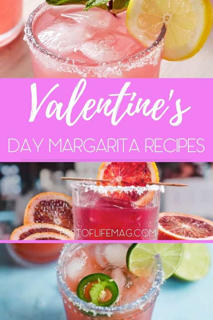 Celebrate your love for each other on Valentine's Day with these beautiful red and pink Valentine's Day margarita recipes. Margarita Recipes for Holidays | Valentines Day Cocktails | Pink Cocktails | Red Cocktails | Margarita Recipes for Holidays | Cocktails for Couples #margarita #cocktails via @amybarseghian