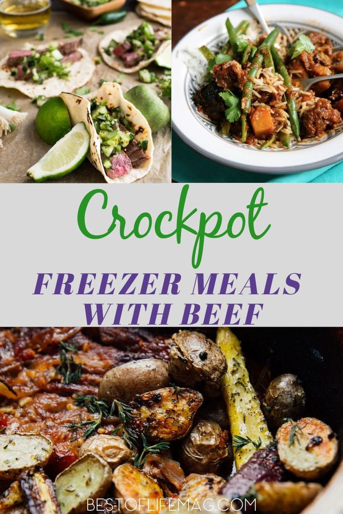 These delicious crockpot freezer meals with beef are easy to make, delicious, come together quickly, and add variety to your dinner table. Beef Dump Freezer Meals | Freezer Recipes | Freezer Meals for Two | Easy Recipes with Beef | Crockpot Beef Recipes  | Crockpot Dinner Recipes | Freezer Meals for Families #crockpot #freezermeal via @amybarseghian