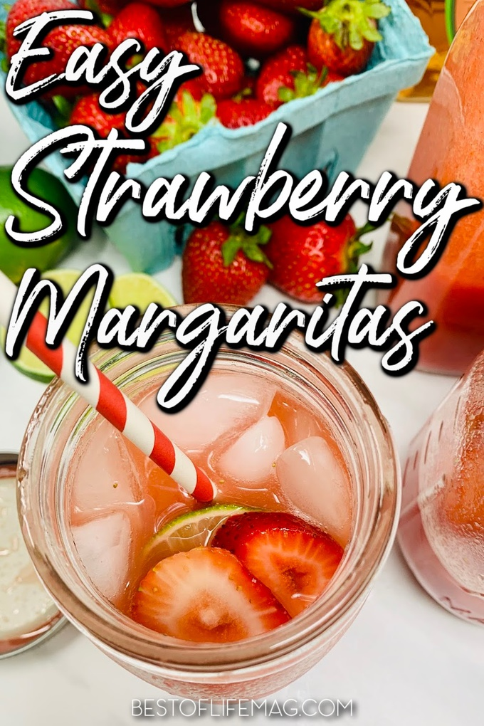 Say cheers with this yummy Strawberry Margarita Recipe! With puree and simple ingredients it is easy to make and beautiful to serve for guests and happy hour! Strawberry Margarita on the Rocks | Easy Frozen Strawberry Margarita | Strawberry Margarita Without Blender | Strawberry Margarita on the Rocks | Margarita Recipes with Fruit | Fruity Margarita Recipes #margaritas #cocktails via @amybarseghian