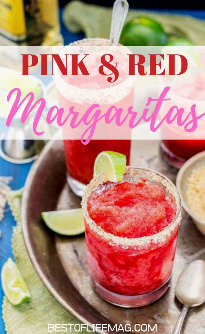 Celebrate your love for each other on Valentine's Day with these beautiful red and pink Valentine's Day margarita recipes. Margarita Recipes for Holidays | Valentines Day Cocktails | Pink Cocktails | Red Cocktails | Margarita Recipes for Holidays | Cocktails for Couples #margarita #cocktails