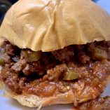Close Up of Slow Cooker Sloppy Joes with Ground Beef