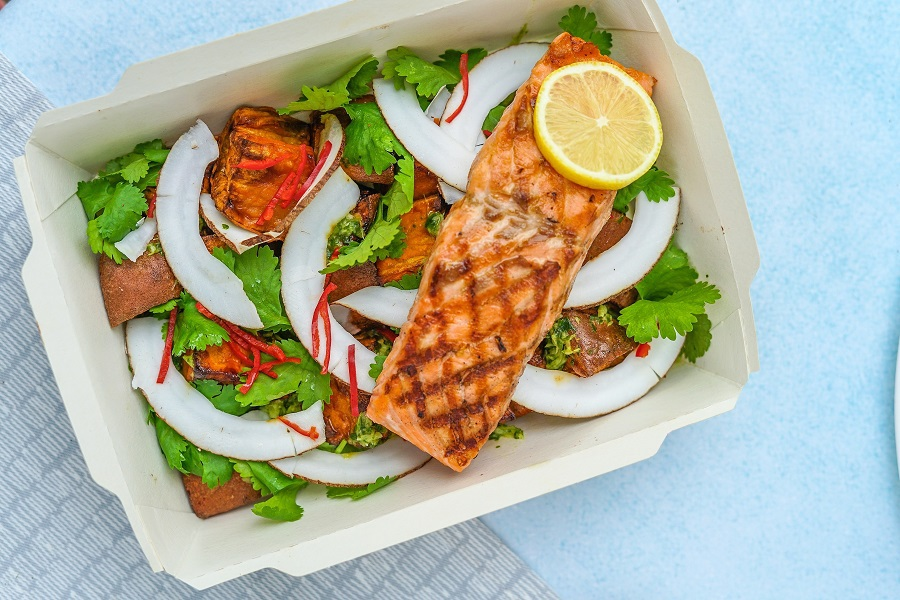 Low Carb Lunch Ideas Plate of Salmon with Salad