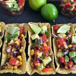 Black Bean Salsa with Avocado Recipe Overhead View of Black Bean Salsa in Taco Flats
