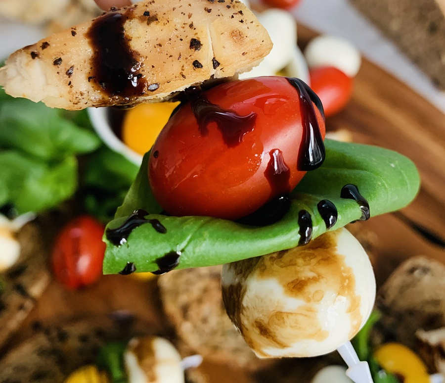 Healthy Chicken Caprese Recipe Close Up of Chicken Caprese on a Skewer