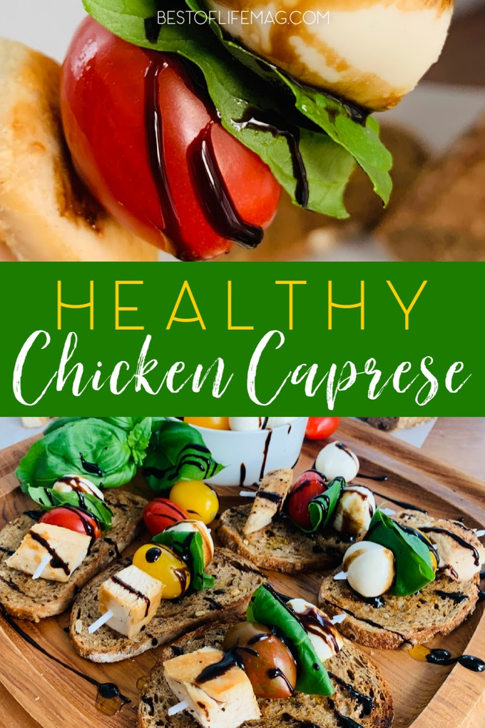 A healthy chicken Caprese recipe is an appetizer that displays beautifully for parties and is a tasty and easy light dinner that everyone will enjoy. Healthy Recipes with Chicken | Chicken Dinner Recipes | Family Dinner Recipes | Date Night Recipes | Recipes for Date Night | Healthy Dinner Recipes #chicken #dinner via @amybarseghian