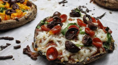 Low Carb Portobello Mushroom Pizza Recipe Close Up of Mushroom Pizza