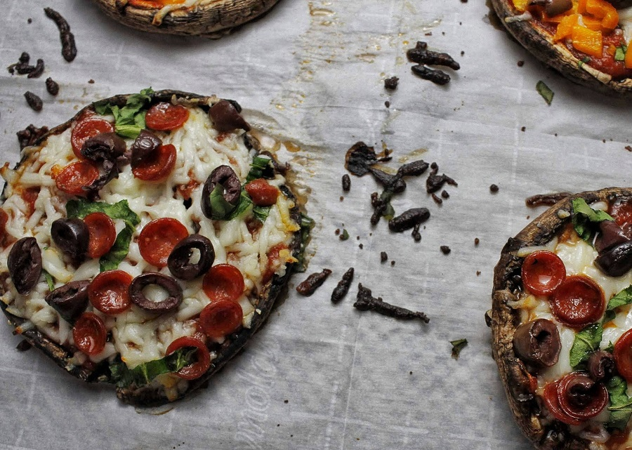 2B Mindset Portobello Pizza Recipe Pizzas on Parchment Paper