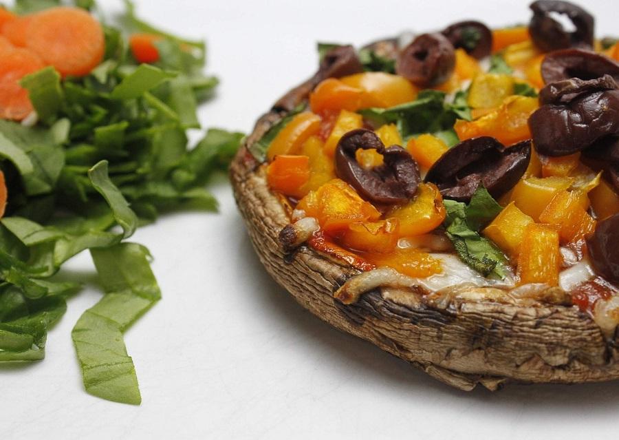 2B Mindset Portobello Pizza Recipe Pizza Next to Spinach