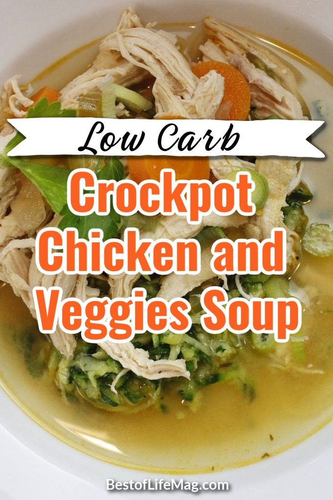 You will love this healthy low carb crockpot chicken and veggies soup recipe that is easy to make and fits effortlessly into your weight loss meal planning. Low Carb Soups | Low Carb Crockpot Soups | Slow Cooker Soups Low Carb | Keto Crockpot Soups | Keto Crockpot Recipes | Easy Dinner Recipes | Low Carb Chicken Soup #lowcarb #soups via @amybarseghian