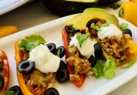 Low Carb Mini Bell Pepper Nachos Ready to Serve with Sour Cream and Other Toppings