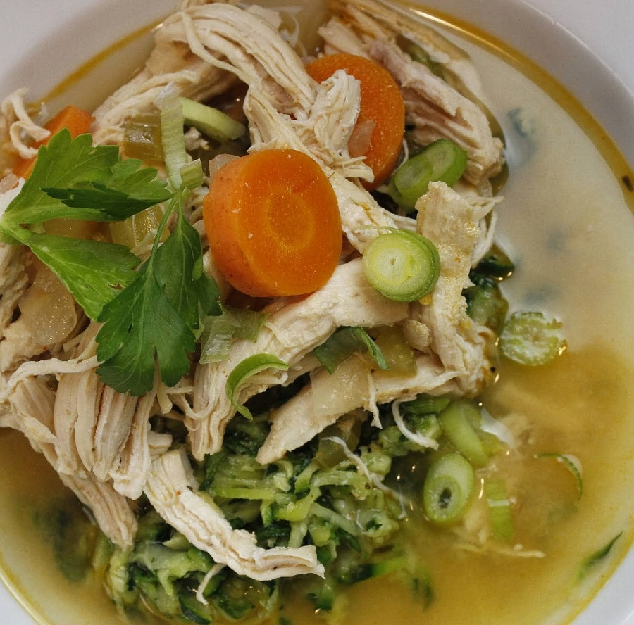 Low Carb Crockpot Chicken and Veggies Soup with Zoodles in a Bowl