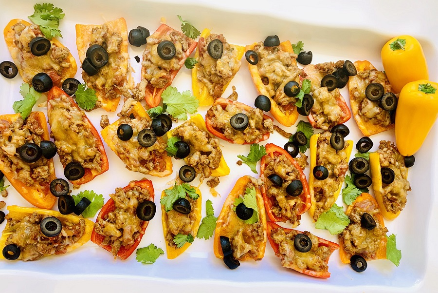 Low Carb Mini Bell Pepper Nachos On a Serving Tray