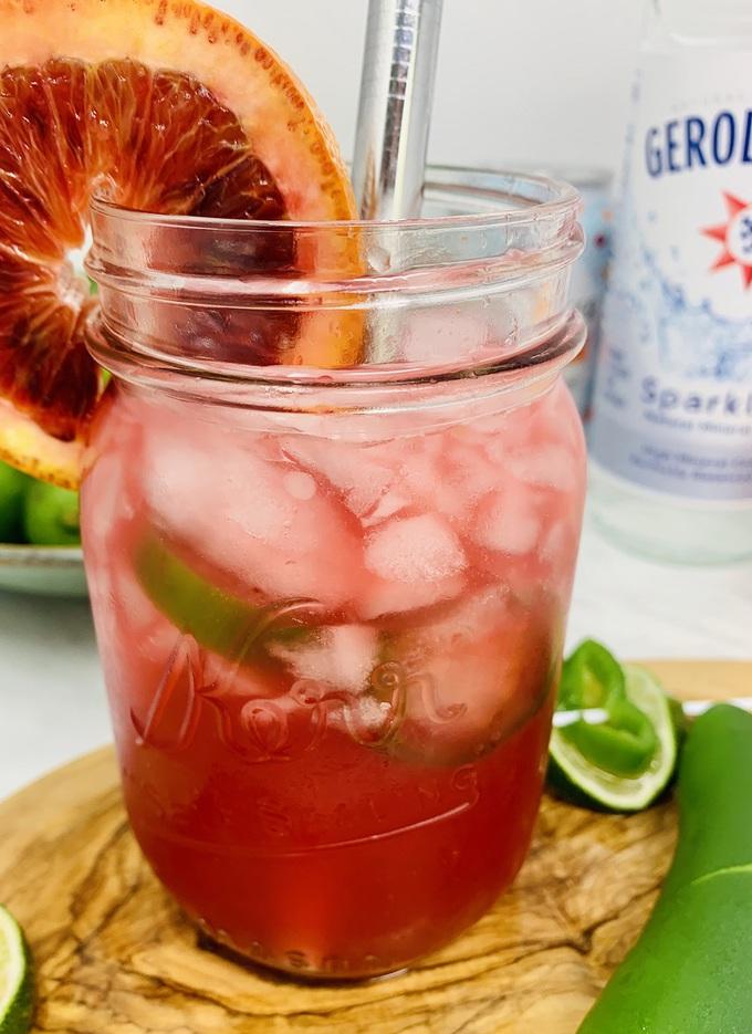 Spicy Margarita Recipe Mason Jar Filled with Margarita