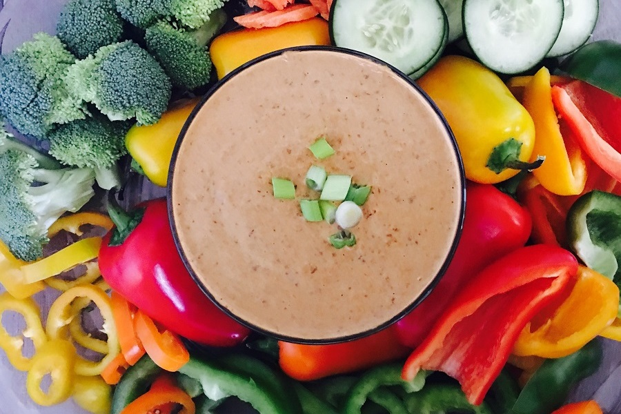 Crockpot Black Bean Dip Recipe OVerhead View of Dip in a Bowl Surrounded by Veggies