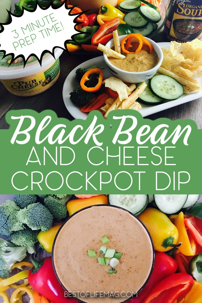 This crockpot black bean dip recipe comes together in minutes with only two ingredients making the perfect side or topping for salads and tacos. Crockpot Party Recipes | Game Day Recipes | Party Dip Recipes | Slow Cooker Recipes | Game Day Recipes | Food for Game Days #slowcookerrecipes #gamedayfood via @amybarseghian