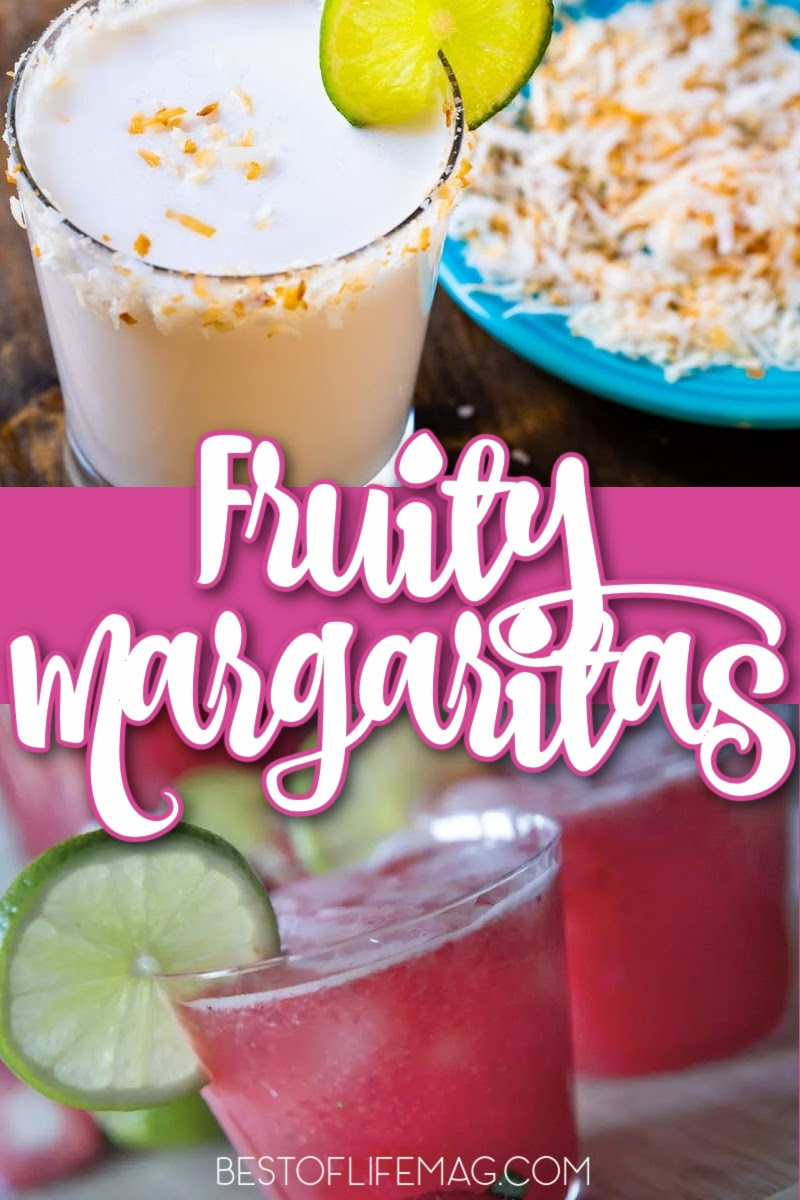 Enjoy these easy to make fruity margarita recipes when you need a refreshing cocktail! These are easy to adapt to pitcher recipes, too! Fruity Cocktails | Margarita Recipes | Margarita on the Rocks | Best Margaritas | Party Recipes | Party Drinks | Tequila Cocktail Recipes #margaritas #cocktailrecipes via @amybarseghian