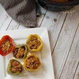 Low Carb Crock Pot Stuffed Peppers On a Plate