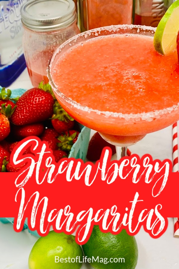 Say cheers with this yummy Strawberry Margarita Recipe! With puree and simple ingredients, it is easy to make and beautiful to serve for guests and happy hour! Strawberry Margarita on the Rocks | Easy Frozen Strawberry Margarita | Strawberry Margarita Without Blender | Strawberry Margarita on the Rocks | Margarita Recipes with Fruit | Fruity Margarita Recipes #margaritas #cocktails via @amybarseghian