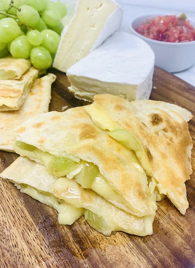 Brie and Grape Quesadilla Recipe Close Up of a Cooked Quesadilla