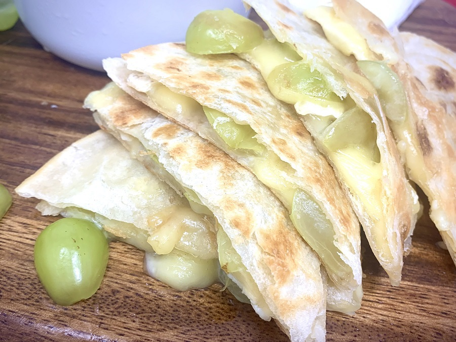 Brie and Grape Quesadilla Recipe Quesadilla Pieces Stacked on Top of Each Other
