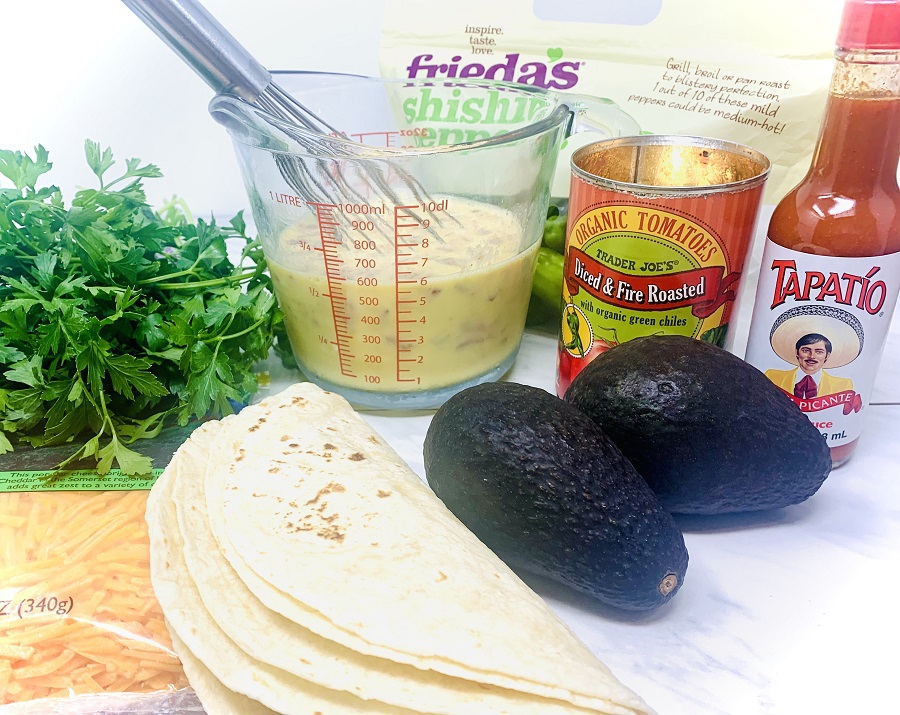 Healthy Breakfast Quesadilla Recipe Ingredients Sprawled Out on a Counter