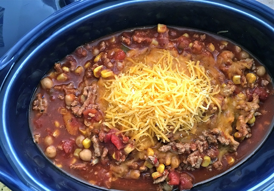 Healthy Chicken Chili Crockpot Recipes Overhead View of a Crockpot Cooking Chili