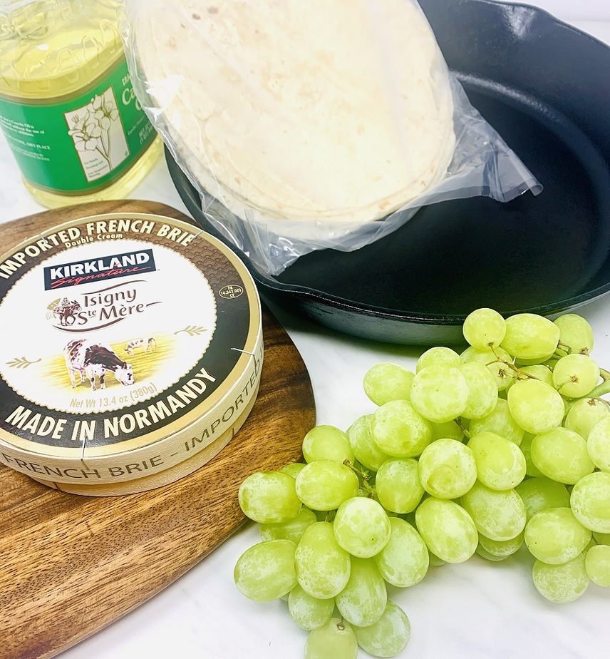 Brie and Grape Quesadilla Recipe Ingredients Gathered Together