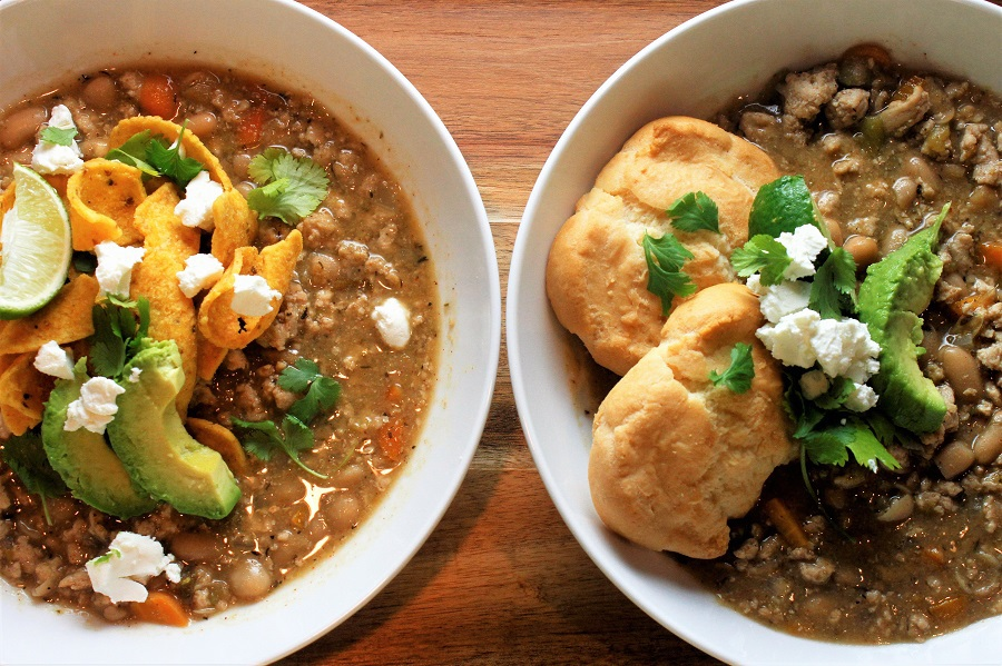 Healthy Chicken Chili Crockpot Recipes Two Bowls of Chili on a Counter