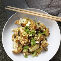 Low Carb Kung Pao Vegetables Recipe Overhead View of Kung Pao Veggies in a Bowl with Chopsticks