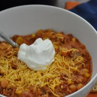 Healthy Chicken Chili Crockpot Recipes Close Up of Chili with Sour Cream