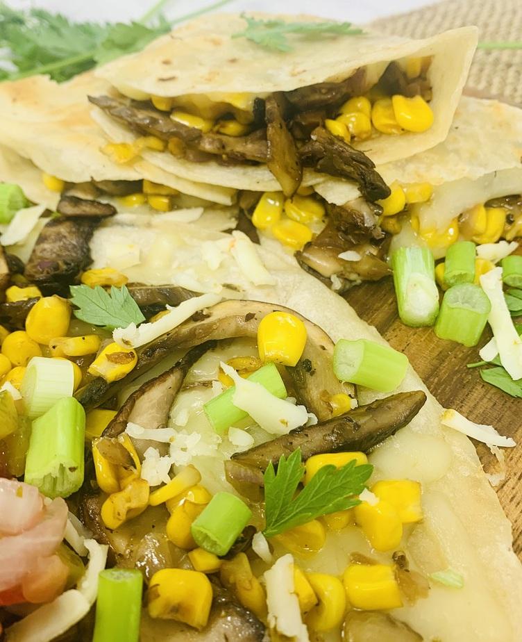 Portobello Mushroom and Corn Quesadilla Recipe Ingredients Put on a Tortilla