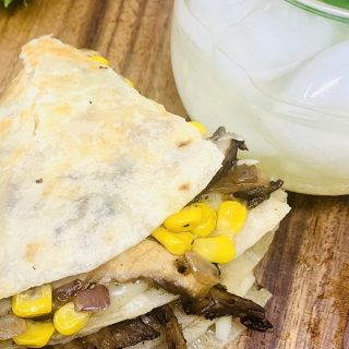 Portobello Mushroom and Corn Quesadilla Recipe Overhead View of a Folded Quesadilla