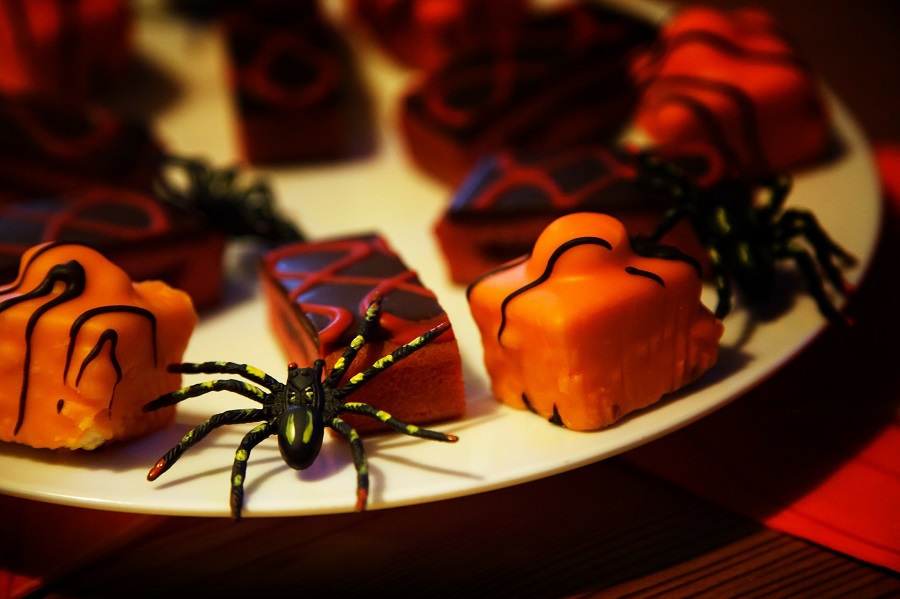 Halloween Crockpot Recipes Platter with Candy and Spiders