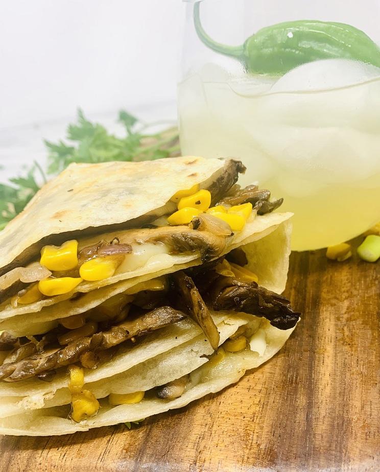 Portobello Mushroom and Corn Quesadilla Recipe Close Up of a Folded Quesadilla