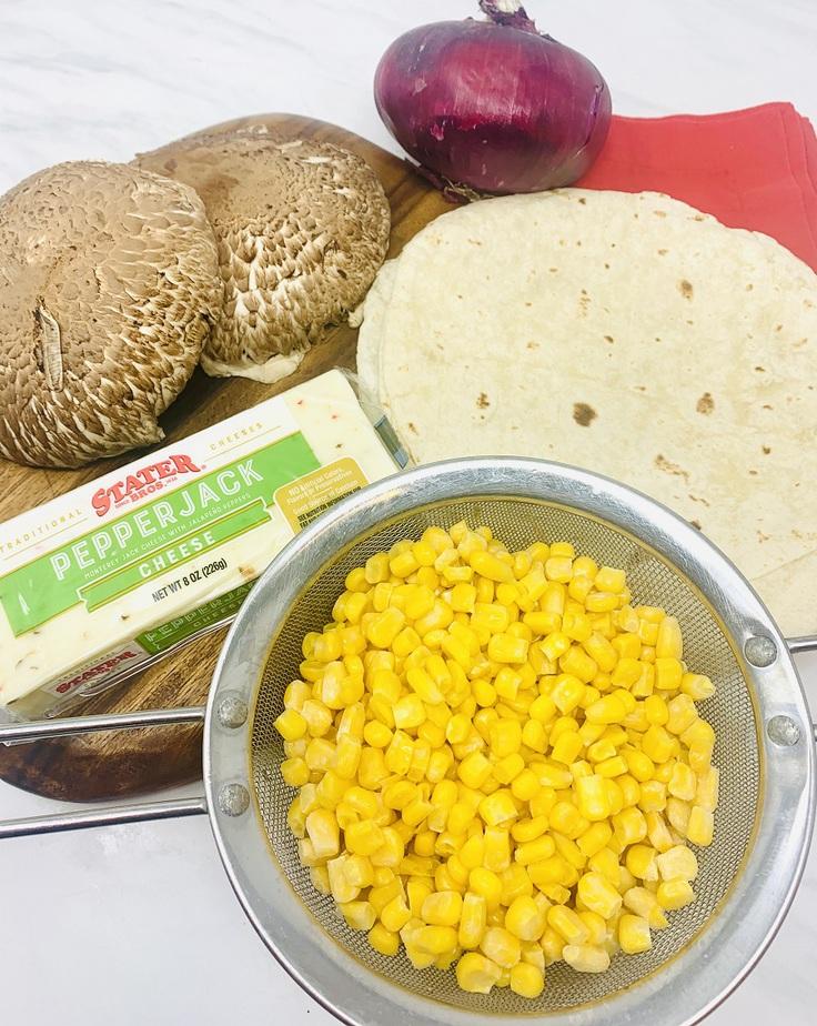 Portobello Mushroom and Corn Quesadilla Recipe Ingredients Spread Out on a Counter