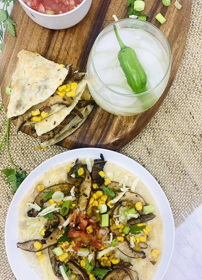 Portobello Mushroom and Corn Quesadilla Recipe Overhead View of a Quesadilla with a Drink