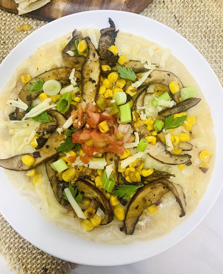 Portobello Mushroom and Corn Quesadilla Recipe Overhead View of the Inside of a Quesadilla