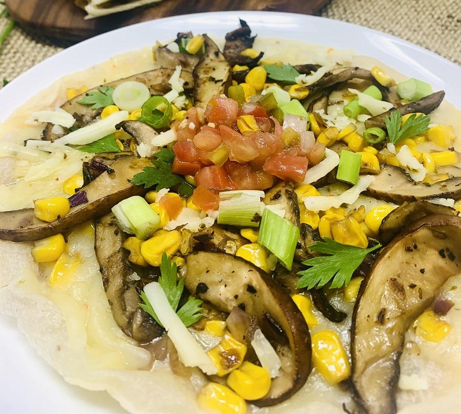 Portobello Mushroom and Corn Quesadilla Recipe Open Quesadilla on a Plate