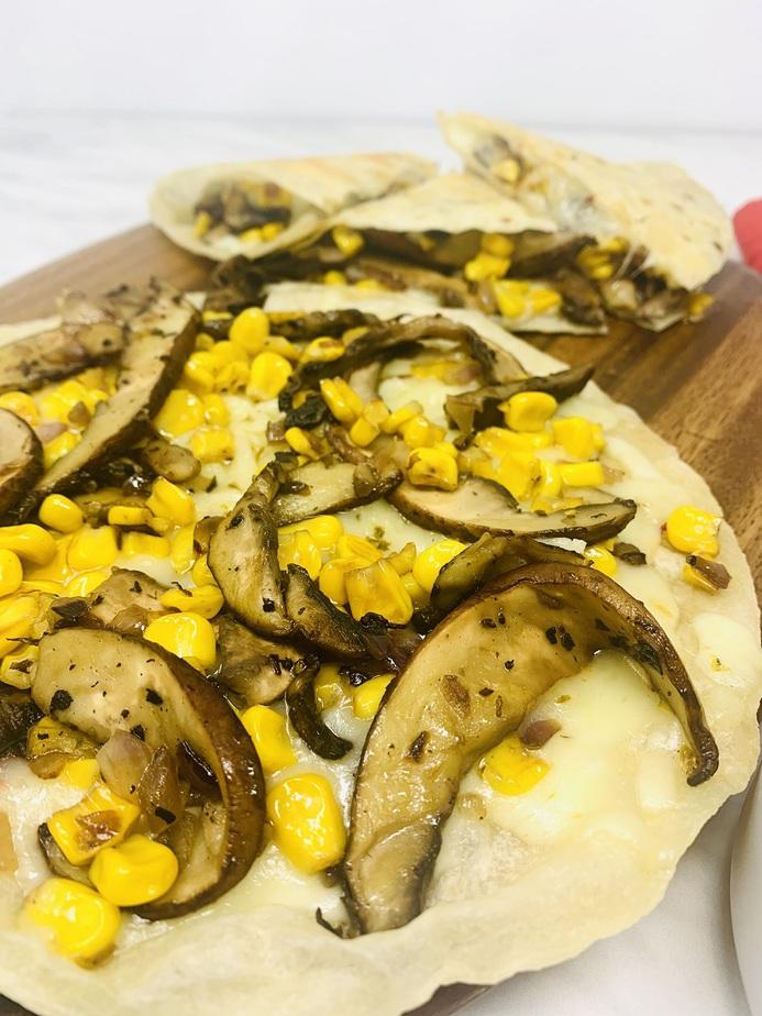 Portobello Mushroom and Corn Quesadilla Recipe Corn and Mushrooms on a Tortilla