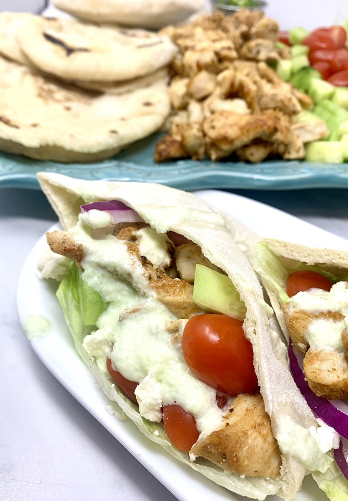 Chicken and Tzatziki in Pita Pockets Close Up of Pitas